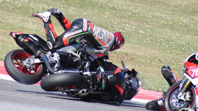 Photogallery: Elf CIV Round 1 Superbike – Misano Crash Baiocco Mantovani